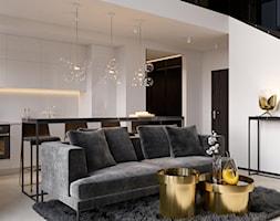 suspenzo_no.26 - Średni biały salon z kuchnią z jadalnią, styl nowoczesny - zdjęcie od suspenzo architectural group - Homebook