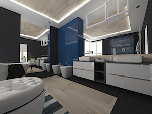 ŁAZIENKI - Duża czarna niebieska łazienka w bloku w domu jednorodzinnym jako salon kąpielowy z oknem, styl nowoczesny - zdjęcie od LABROOM kreatywne studio projektowania wnętrz