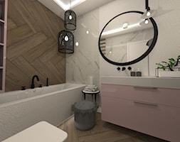 ŁAZIENKI - Mała biała łazienka w bloku w domu jednorodzinnym bez okna, styl nowoczesny - zdjęcie od LABROOM kreatywne studio projektowania wnętrz - Homebook