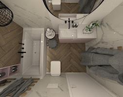 ŁAZIENKI - Mała łazienka w bloku w domu jednorodzinnym bez okna, styl nowoczesny - zdjęcie od LABROOM kreatywne studio projektowania wnętrz - Homebook