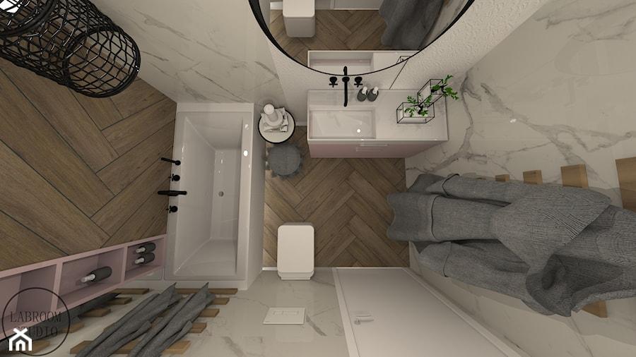 ŁAZIENKI - Mała łazienka w bloku w domu jednorodzinnym bez okna, styl nowoczesny - zdjęcie od LABROOM kreatywne studio projektowania wnętrz