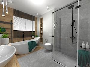 ŁAZIENKI - Średnia szara łazienka w bloku w domu jednorodzinnym z oknem, styl nowoczesny - zdjęcie od LABROOM kreatywne studio projektowania wnętrz