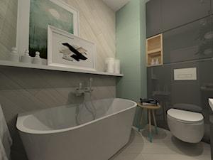ŁAZIENKI - Mała szara łazienka w bloku w domu jednorodzinnym bez okna, styl nowoczesny - zdjęcie od LABROOM kreatywne studio projektowania wnętrz