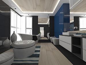ŁAZIENKI - Duża czarna niebieska łazienka jako salon kąpielowy jako domowe spa z oknem, styl nowoczesny - zdjęcie od LABROOM kreatywne studio projektowania wnętrz