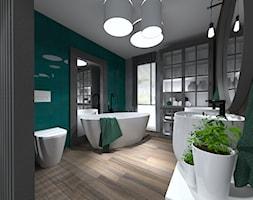 ŁAZIENKI - Duża szara zielona łazienka w bloku w domu jednorodzinnym z oknem, styl nowoczesny - zdjęcie od LABROOM kreatywne studio projektowania wnętrz