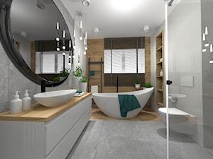 ŁAZIENKI - Duża biała łazienka w bloku w domu jednorodzinnym z oknem, styl nowoczesny - zdjęcie od LABROOM kreatywne studio projektowania wnętrz