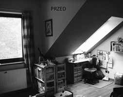 pokój Filipa - Mały szary czarny pokój dziecka dla chłopca dla dziewczynki dla ucznia dla nastolatka, styl nowoczesny - zdjęcie od Pracownia Wielkie Rzeczy