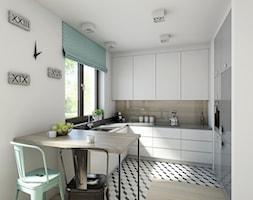 industrialnie na 48m2 - Średnia otwarta kuchnia w kształcie litery u w aneksie, styl industrialny - zdjęcie od Pracownia Wielkie Rzeczy