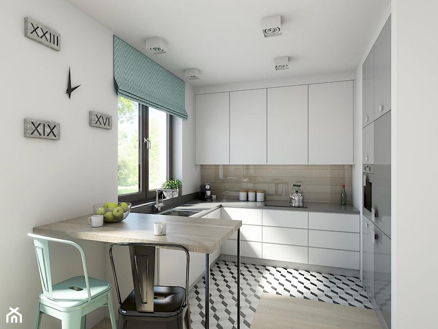 industrialnie na 48m2 - Średnia otwarta biała kuchnia w kształcie litery u w aneksie, styl industrialny - zdjęcie od Pracownia Wielkie Rzeczy