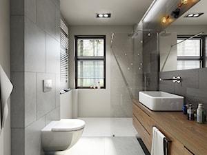 metamorfoza łazienki - Średnia szara łazienka w bloku w domu jednorodzinnym z oknem, styl nowoczesny - zdjęcie od Pracownia Wielkie Rzeczy