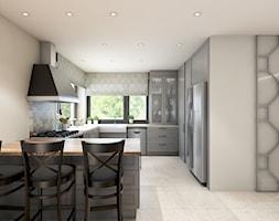 dom z elementami prowansalskimi - Duża otwarta biała kuchnia w kształcie litery u w kształcie litery g w aneksie z oknem, styl prowansalski - zdjęcie od Pracownia Wielkie Rzeczy