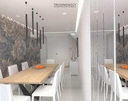 PROJEKT- DOM BYDGOSZCZ - Duża otwarta biała szara jadalnia jako osobne pomieszczenie, styl nowoczesny - zdjęcie od Pracownia Wnętrz Trojanowscy