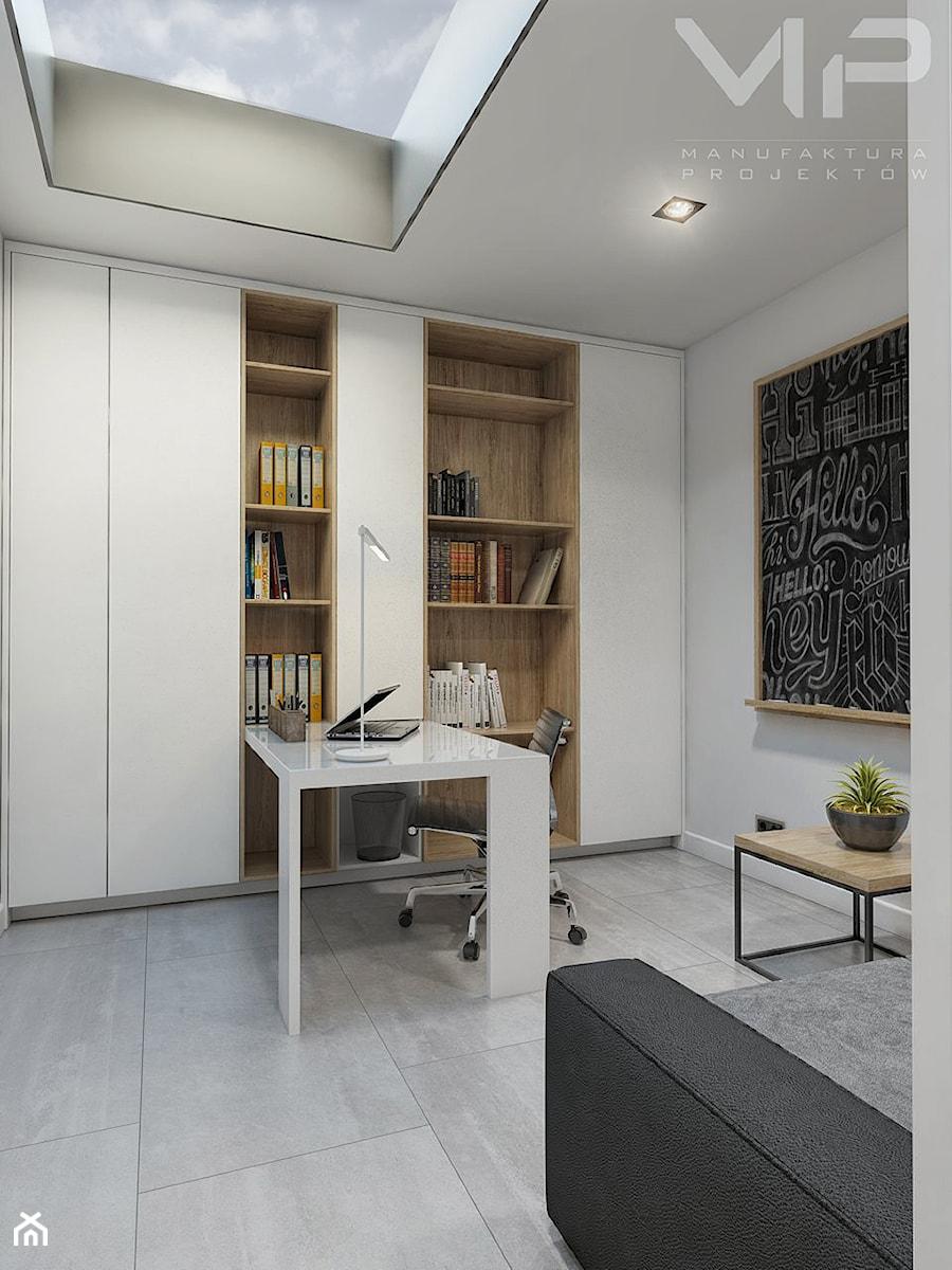 Interior Dom W Rudach średnie Białe Biuro Kącik Do Pracy W