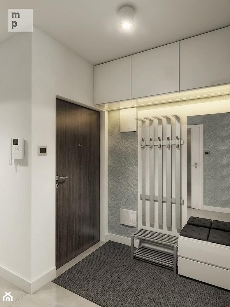 INTERIOR | Mieszkanie - Warszawa - Mały biały szary hol / przedpokój, styl nowoczesny - zdjęcie od Manufaktura Projektów - Homebook