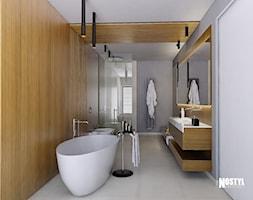 INTERIOR [ 01 ] 2019 - Duża szara łazienka w bloku w domu jednorodzinnym z oknem, styl nowoczesn ... - zdjęcie od Manufaktura Projektów - Homebook