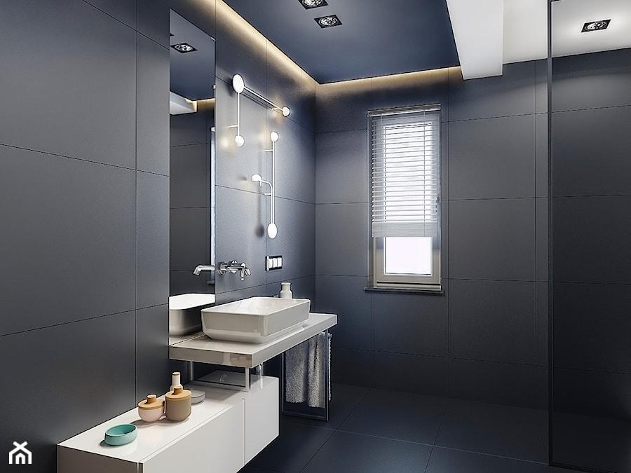 BATHROOM I 7 I 2018 - Mała czarna łazienka na poddaszu w bloku w domu jednorodzinnym z oknem, styl nowoczesny - zdjęcie od Manufaktura Projektów