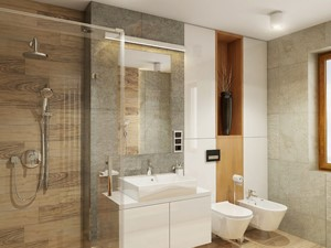 INTERIOR | Silesia 01 - Średnia brązowa szara łazienka z oknem, styl nowoczesny - zdjęcie od Manufaktura Projektów