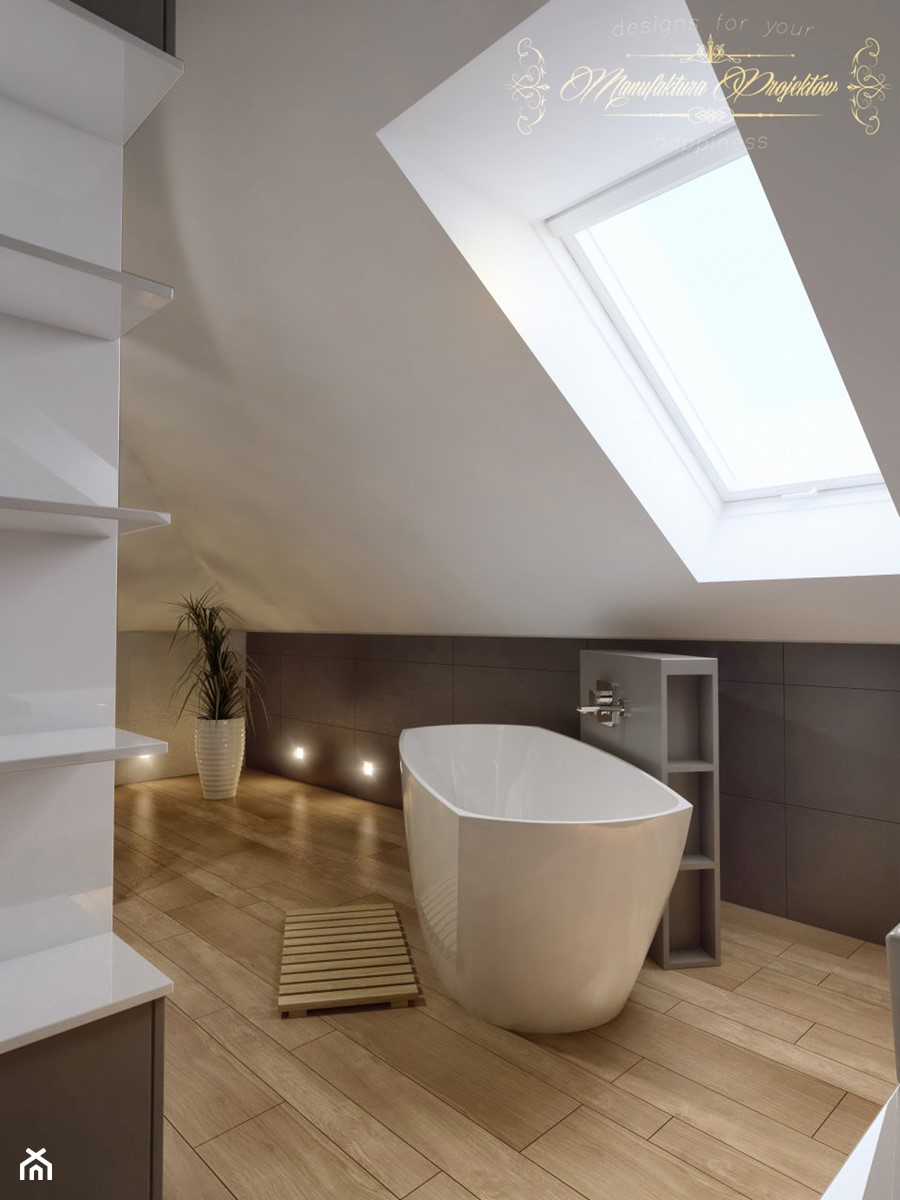 Dom na przedmieściach - Średnia biała szara łazienka na poddaszu w domu jednorodzinnym jako salon kąpielowy z oknem, styl nowoczesny - zdjęcie od Manufaktura Projektów