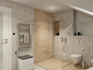 INTERIOR | Łazienka 04 - Duża brązowa szara łazienka na poddaszu, styl nowoczesny - zdjęcie od Manufaktura Projektów