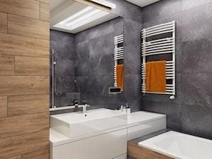 INTERIOR | Mieszkanie - Warszawa - Średnia beżowa szara łazienka bez okna, styl nowoczesny - zdjęcie od Manufaktura Projektów