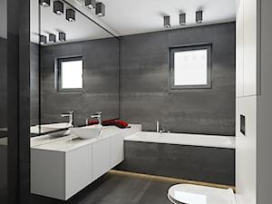 INTERIOR I 1 I 2018 - Mała biała szara łazienka w bloku w domu jednorodzinnym z oknem, styl nowoczesny - zdjęcie od Manufaktura Projektów