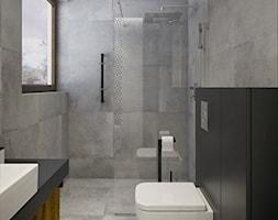 INTERIOR   Dom w Żorach - Średnia szara łazienka w domu jednorodzinnym z oknem, styl nowoczesny - zdjęcie od Manufaktura Projektów - Homebook