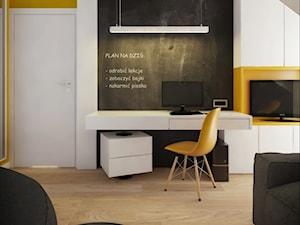 INTERIOR | Dom w Żorach - Średni biały żółty czarny pokój dziecka dla chłopca dla dziewczynki dla ucznia dla nastolatka, styl nowoczesny - zdjęcie od Manufaktura Projektów