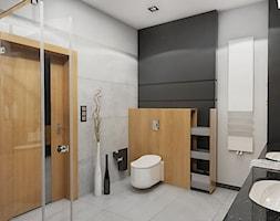 BATHROOM I 5 I 2018 - Średnia szara łazienka na poddaszu w bloku w domu jednorodzinnym bez okna, styl nowoczesny - zdjęcie od Manufaktura Projektów - Homebook