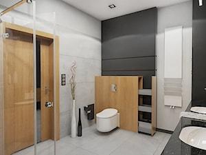 BATHROOM I 5 I 2018 - Średnia szara łazienka na poddaszu w bloku w domu jednorodzinnym bez okna, styl nowoczesny - zdjęcie od Manufaktura Projektów