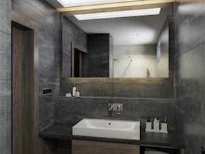 Mieszkanie singla - Mała czarna łazienka na poddaszu w bloku w domu jednorodzinnym bez okna, styl nowoczesny - zdjęcie od Manufaktura Projektów