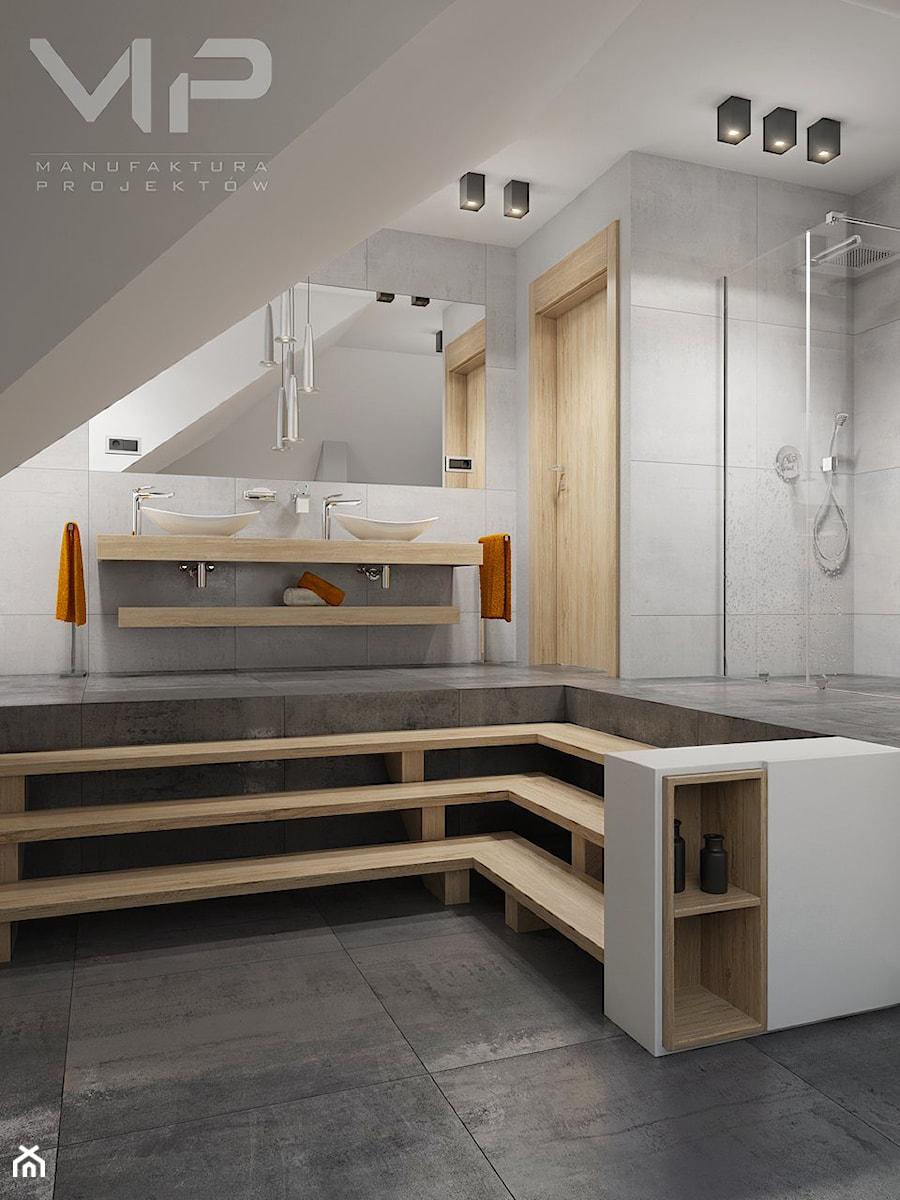 INTERIOR | Łazienka 07 - Duża szara łazienka na poddaszu jako salon kąpielowy, styl nowoczesny - zdjęcie od Manufaktura Projektów