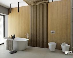 INTERIOR [ 01 ] 2019 - Średnia szara łazienka w bloku w domu jednorodzinnym z oknem, styl nowocz ... - zdjęcie od Manufaktura Projektów - Homebook