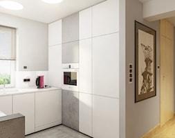 INTERIOR | Silesia 02 - Średnia otwarta biała szara kuchnia w kształcie litery u, styl nowoczesny - zdjęcie od Manufaktura Projektów - Homebook