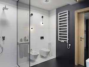 BATHROOM I 7 I 2018 - Średnia biała czarna łazienka na poddaszu w bloku w domu jednorodzinnym bez okna, styl nowoczesny - zdjęcie od Manufaktura Projektów