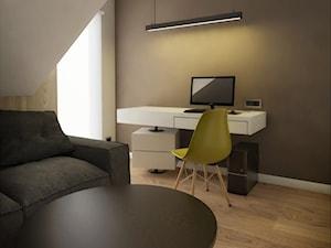INTERIOR | Dom w Żorach - Średnie brązowe biuro kącik do pracy na poddaszu, styl nowoczesny - zdjęcie od Manufaktura Projektów