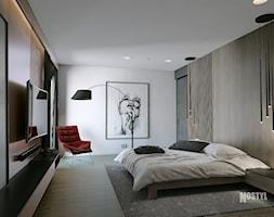 INTERIOR [ 01 ] 2019 - Duża biała czarna sypialnia małżeńska, styl nowoczesny - zdjęcie od Manufaktura Projektów - Homebook