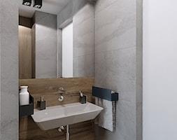 INTERIOR [ 01 ] 2019 - Mała szara łazienka w bloku w domu jednorodzinnym bez okna, styl nowoczes ... - zdjęcie od Manufaktura Projektów - Homebook