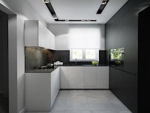 SMALL KITCHEN. - Średnia biała czarna kuchnia w kształcie litery u w aneksie z oknem, styl nowoczesny - zdjęcie od Manufaktura Projektów