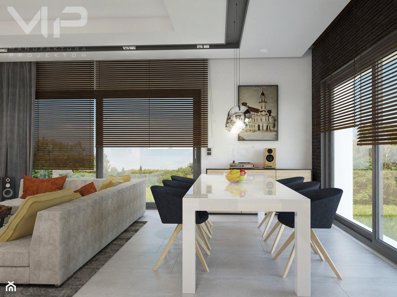 INTERIOR | Dom w Rudach - Duża otwarta biała jadalnia w salonie, styl nowoczesny - zdjęcie od Manufaktura Projektów - Homebook