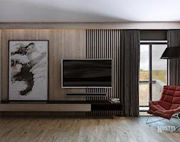 INTERIOR [ 01 ] 2019 - Duża czarna sypialnia z balkonem / tarasem, styl nowoczesny - zdjęcie od Manufaktura Projektów - Homebook