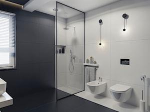 BATHROOM I 7 I 2018 - Średnia czarna szara łazienka na poddaszu w bloku w domu jednorodzinnym z oknem, styl nowoczesny - zdjęcie od Manufaktura Projektów