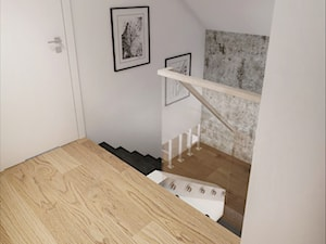 INTERIOR | Dom w Żorach - Małe wąskie schody dwubiegowe drewniane z materiałów mieszanych, styl nowoczesny - zdjęcie od Manufaktura Projektów