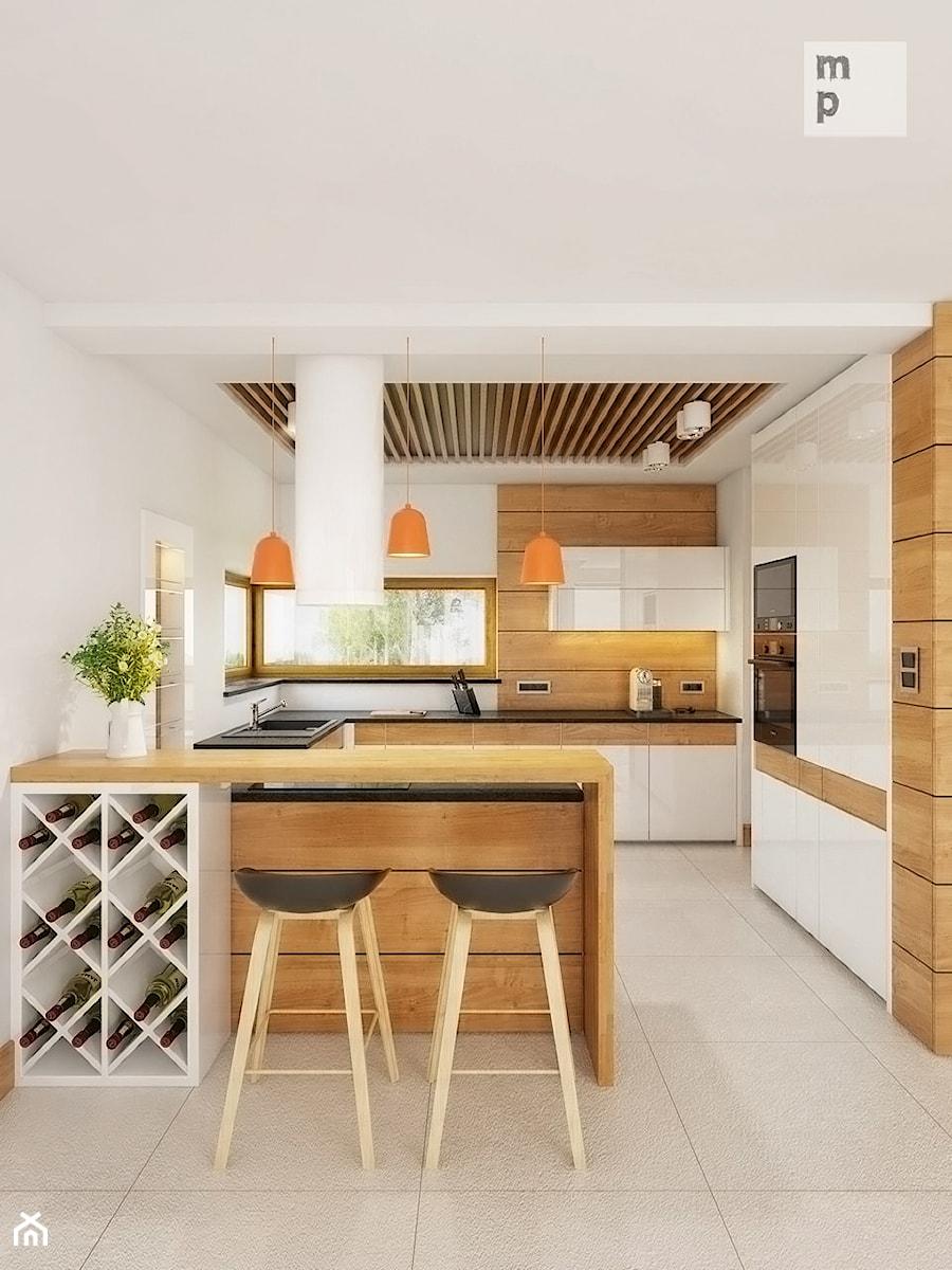 INTERIOR | Silesia 01 - Średnia otwarta biała brązowa kuchnia w kształcie litery l w aneksie, styl nowoczesny - zdjęcie od Manufaktura Projektów