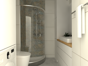 Mieszkanie Mokotów - Średnia biała łazienka w bloku w domu jednorodzinnym bez okna, styl nowoczesny - zdjęcie od INTERNOO/studio architektury