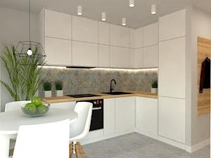 Mieszkanie Mokotów - Średnia otwarta szara kuchnia w kształcie litery l, styl nowoczesny - zdjęcie od INTERNOO/studio architektury