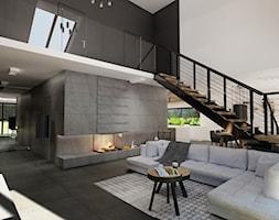 Duży szary biały czarny salon z kuchnią z jadalnią z antresolą, styl nowoczesny - zdjęcie od Agata Pozowska-Majchrzak, Architekt
