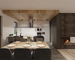 dom w Nieborowicach - Średnia otwarta biała jadalnia w kuchni w salonie, styl nowoczesny - zdjęcie od Agata Pozowska-Majchrzak, Architekt