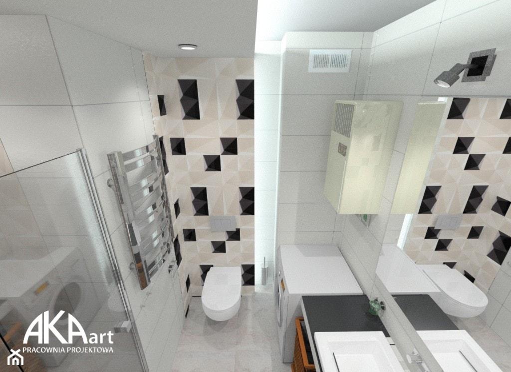 Aranżacja łazienki - czarne akcenty - Łazienka, styl nowoczesny - zdjęcie od AKAart Pracownia Projektowa - Homebook