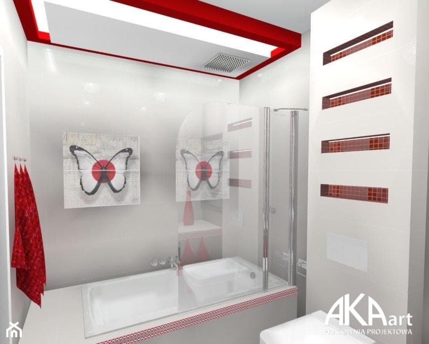 Aranżacja łazienki - czerwone akcenty - Łazienka, styl nowoczesny - zdjęcie od AKAart Pracownia Projektowa - Homebook