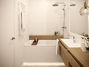 White and wood - Mała biała łazienka w bloku w domu jednorodzinnym bez okna, styl skandynawski - zdjęcie od Inspira Design